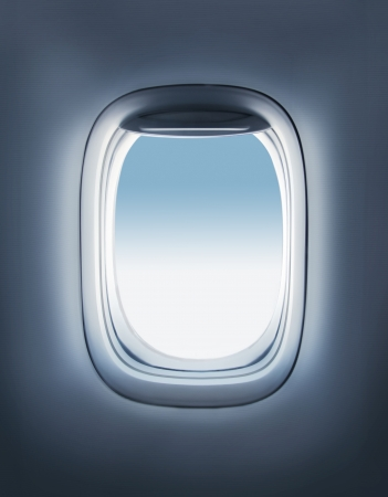 airplane window: sky in the airplane porthole Stock Photo