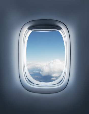 clean window: clouds in the aircrafts porthole