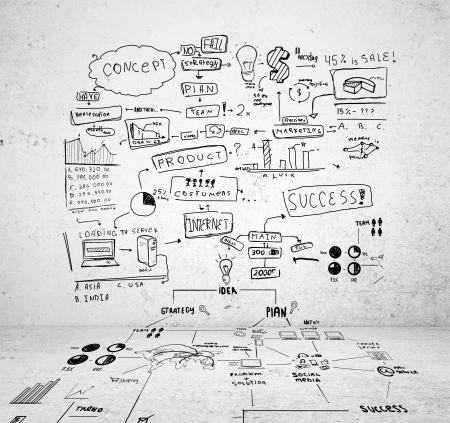 Zeichnen Strategie Erfolg auf einer Betonwand und Boden