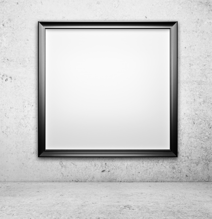amaged: blank picture on a concrete wall closeup Stock Photo