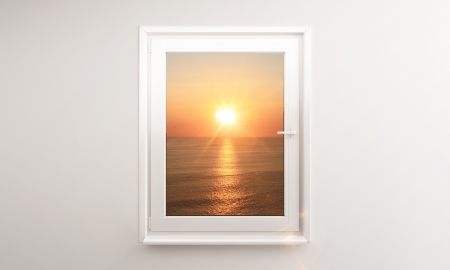 ocean sunset outside the window Stock Photo - 14586961