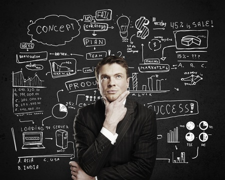 pensive businessman with business plan concept photo