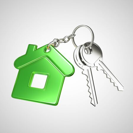key in chain: green key chain with key in form of home