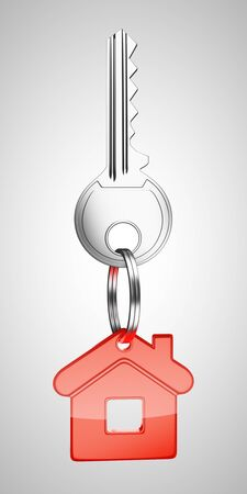 red key chain with key in form of home photo