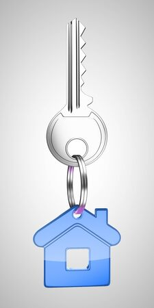 blue key chain with key in form of home photo