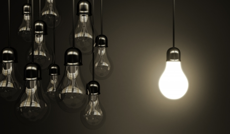 glowing light bulb: idea concept with light bulbs