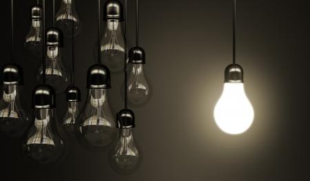 bombilla: idea de concepto con las bombillas Foto de archivo