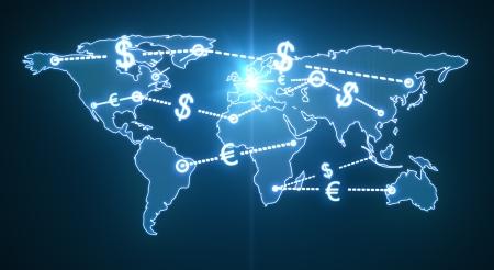 money transfer: map world money traffic concept