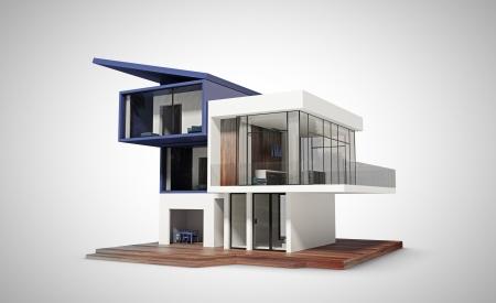 fachadas de casa: casa contempor�nea en un fondo blanco