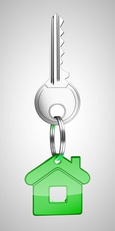 green key chain with key in form of home photo