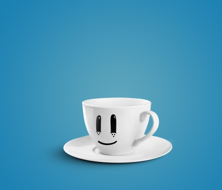 happy cup on a blue background photo
