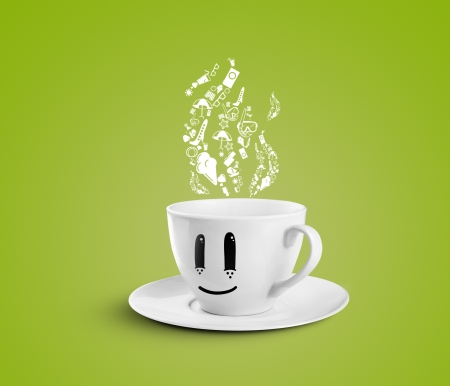 happy cup dream travel on a green background photo