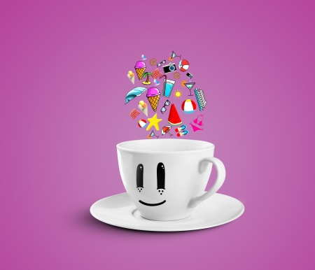 smiles cup dream vacation on a pink background photo