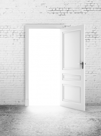 doors open: white brick room and open door  light