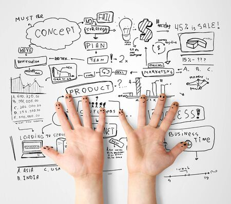 drawing strategy success and finger smileys Stock Photo - 14710026