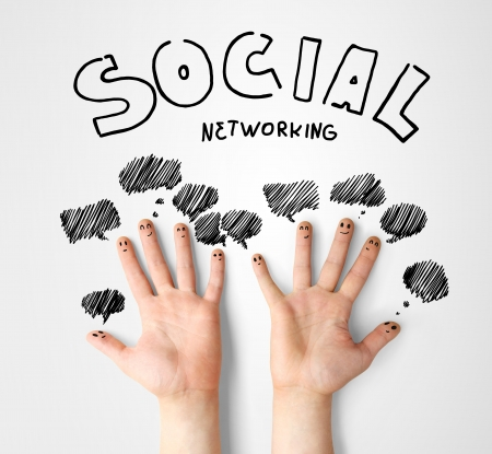 social network, finger smileys with speech bubbles photo