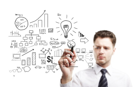 marketing research: man drawing plan strategy success Stock Photo