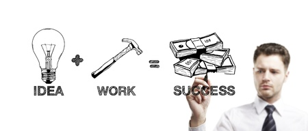 man drawing business formula success on a white background Stock Photo - 14710347