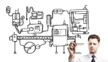 businessman drawning mechanism on a white background Stock Photo - 14710298