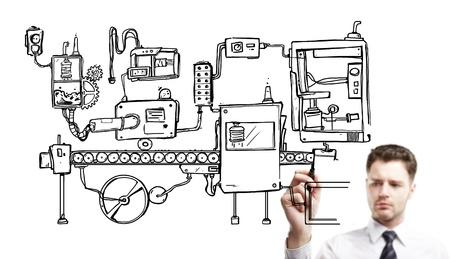 businessman drawning mechanism on a white background Stock Photo - 14710298