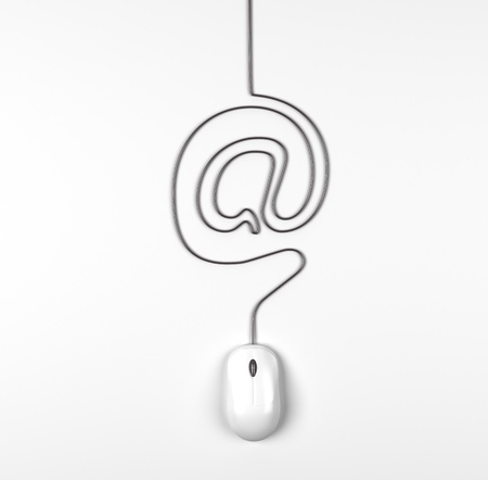 mouse and cables in form of mail on a white background photo