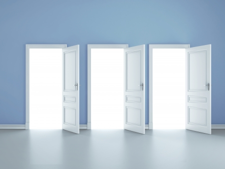 abriendo puerta: tres puertas abiertas en la habitación azul