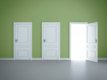 open doors: three open doors in green room Stock Photo