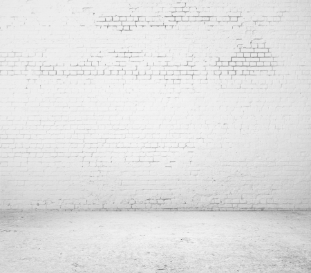 cracked wall: high resolution white brick wall and floor Stock Photo