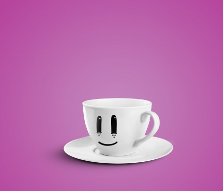 happy cup on a pink background photo