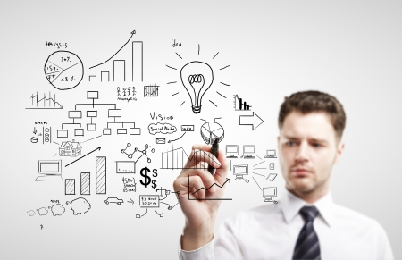 young man drawing plan strategy success Stock Photo - 14748098