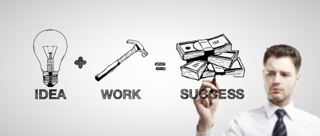 businessman drawing business formula success photo