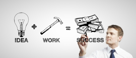 communications tools: man drawing business formula success Stock Photo
