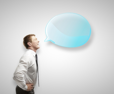 man with blue speech bubble Stock Photo - 14748091
