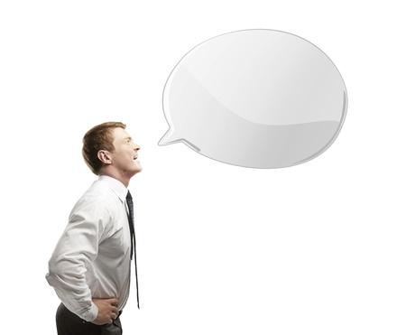 man with white speech bubble Stock Photo - 14748078