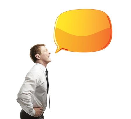 businessman with orange speech bubble Stock Photo - 14748079
