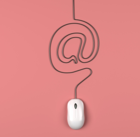 mouse and cables in form of mail on a pink background photo
