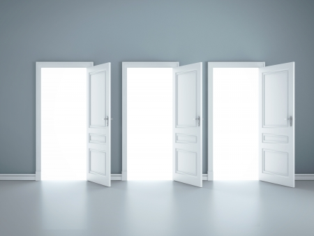 entrance door: three open doors in blue room Stock Photo
