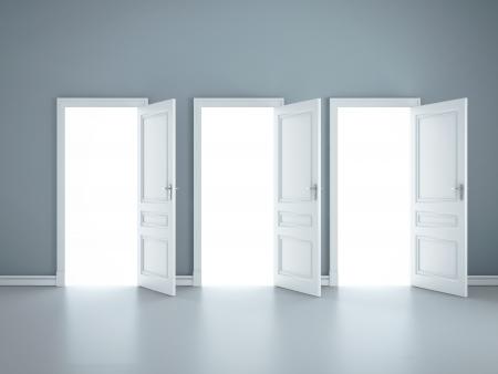 puertas abiertas: tres puertas abiertas en la habitaci�n azul