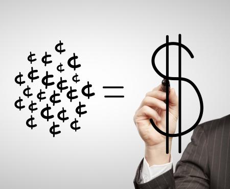 businessman draws a cash equity photo
