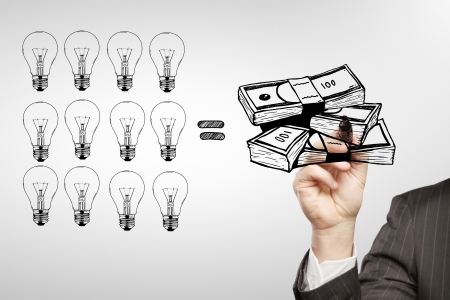 businessman drawing  a cash equity photo