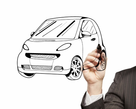 hand businessman drawing a model car photo