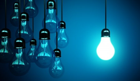 electricity 3d: idea concept with light bulbs on a blue background