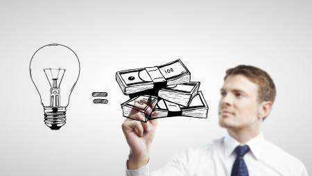 man drawing  idea is money concept photo