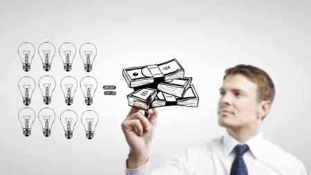 businessman drawing  idea is money concept photo
