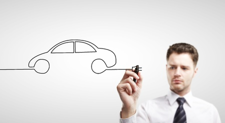 businessman drawing abstract car photo