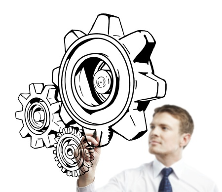 color image creativity: young man drawing gears on a white background
