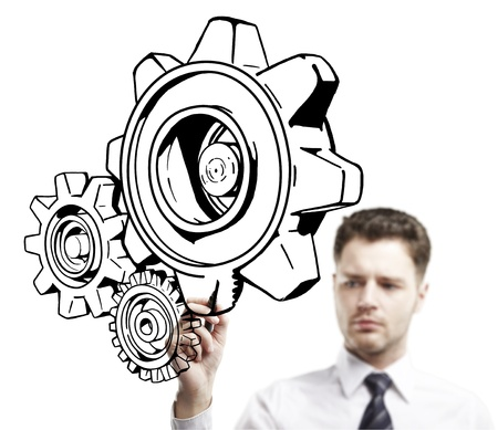 man drawing abstract gears on a white background photo