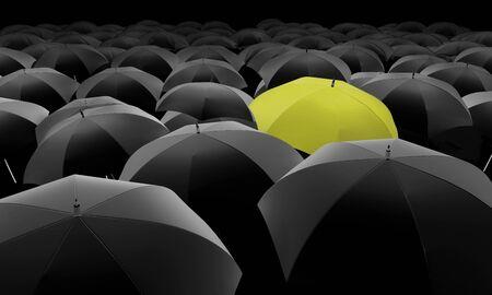 yellow umbrella: yellow umbrella among black umbrellas Stock Photo
