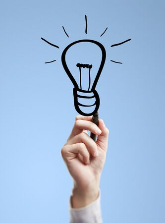 hand drawing lamp on a blue background Stock Photo - 14924019