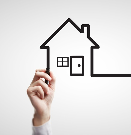 hand drawing abstract house on a white background photo